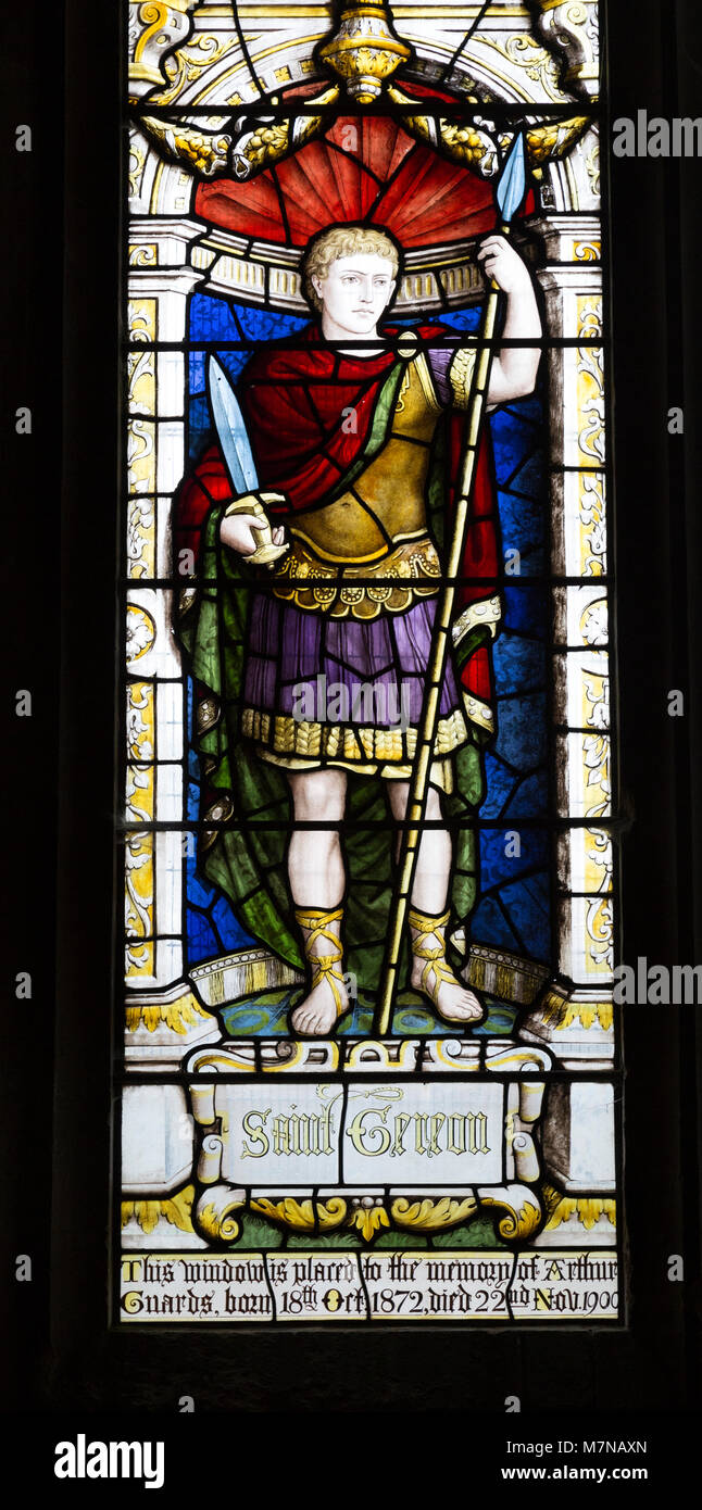Stained glass window depicting Saint Gereon of Cologne, Parish Church of St Aldhelm, Bishopstrow, Wiltshire, England - Stock Image