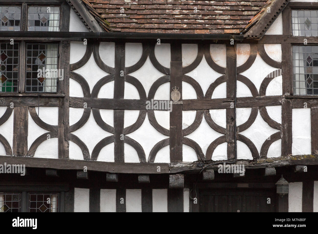 Sixteenth century half timbered architecture details of buildings in High Street, Potterne Wiltshire, England, UK - Stock Image