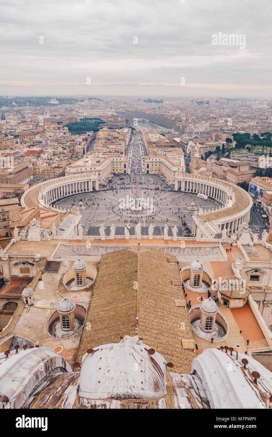 Rome and Vatican skyline from the top of St Peter's Dome in Rome, Italy - Stock Image