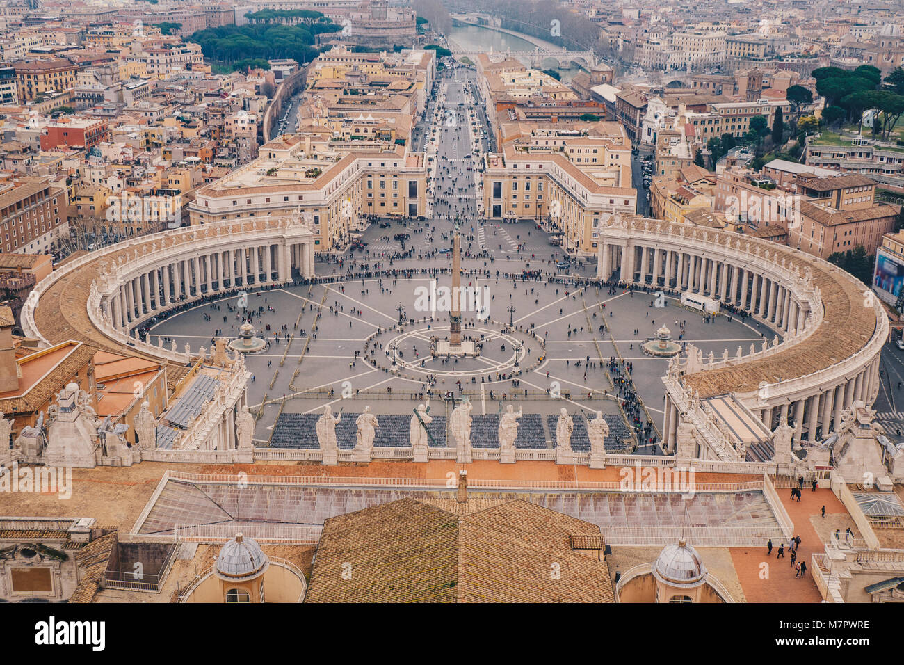 Rome Saint Peters square as seen from above aerial view in Rome, Italy - Stock Image