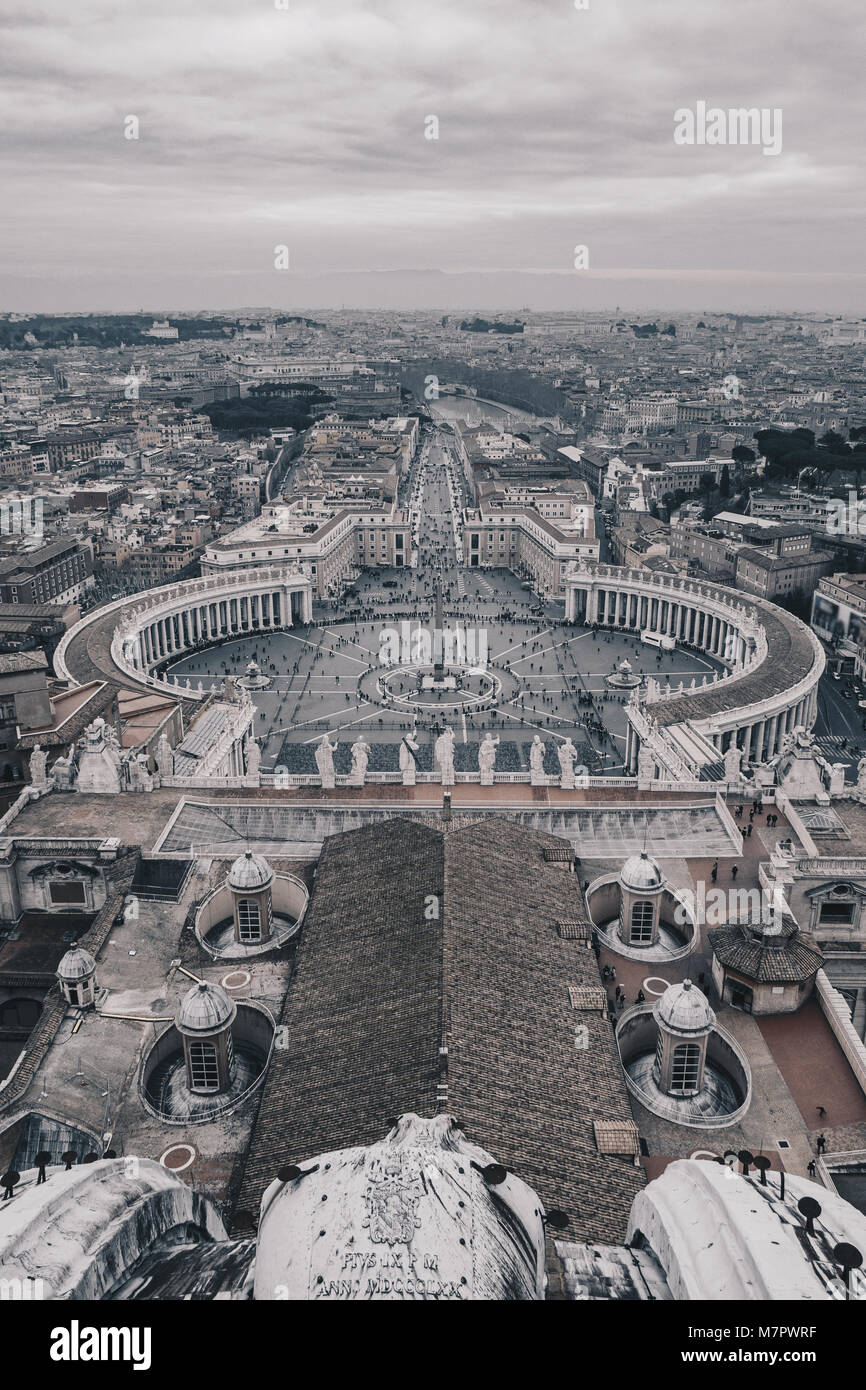 St. Peter's Square as seen from above, black and white version - Stock Image
