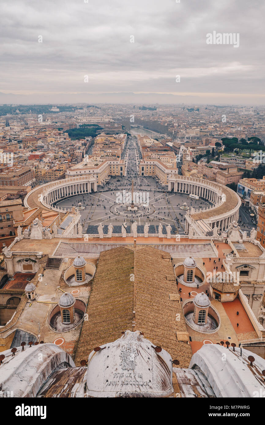 Panorama of Rome Saint Peter's Square as seen from the air - Stock Image