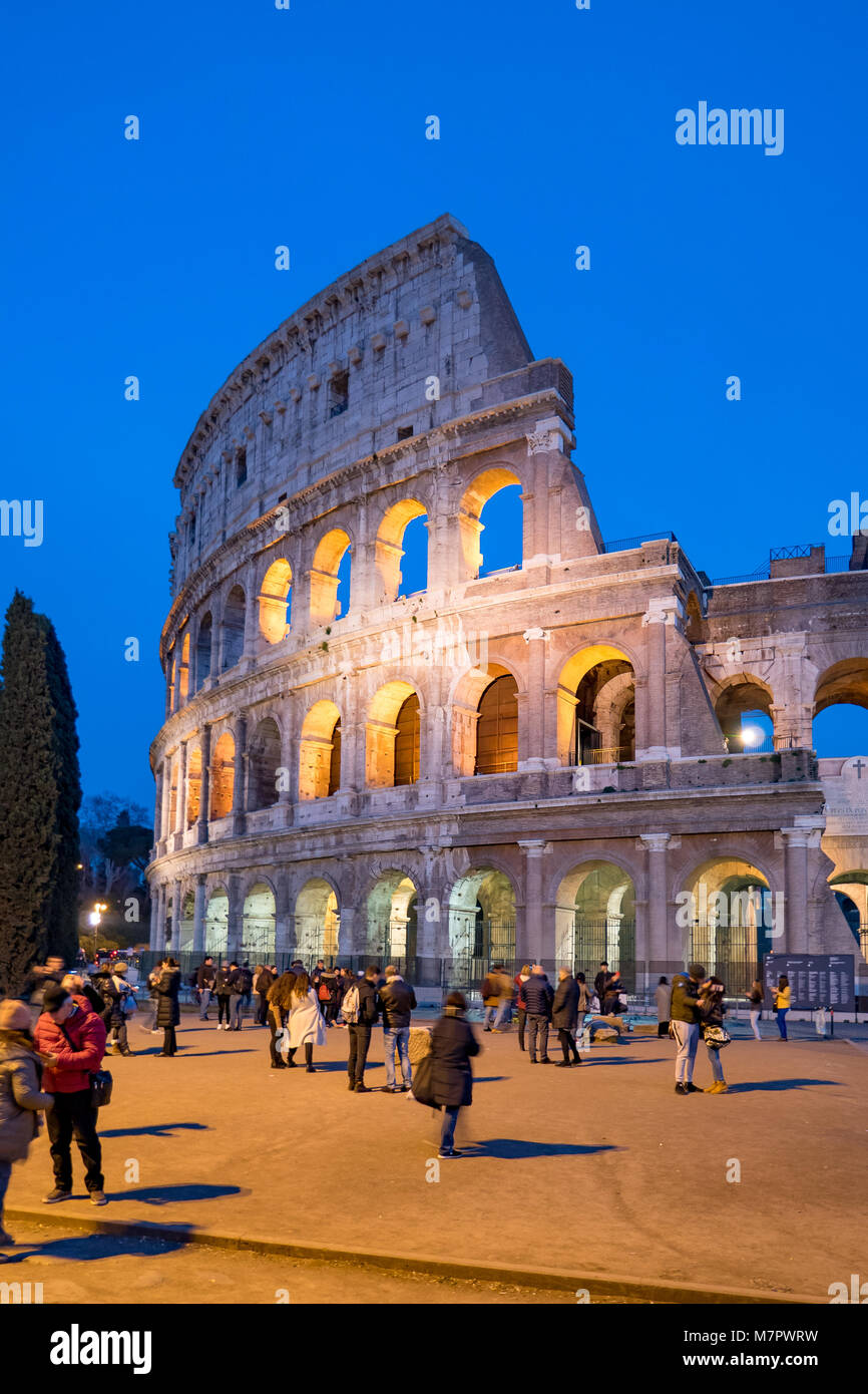 Colosseum Night View in Rome, Italy - Stock Image