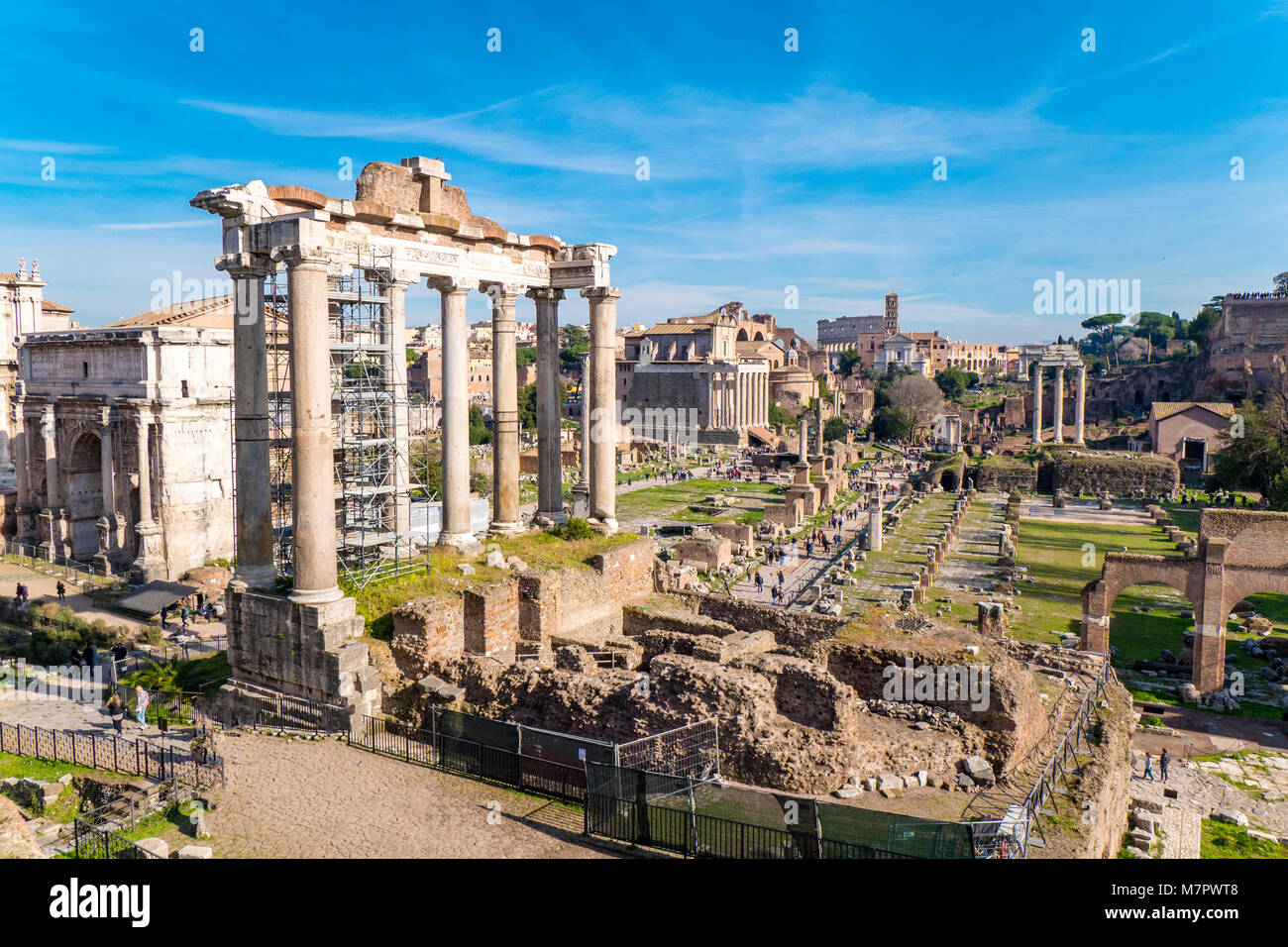 Roman Forum in Rome, Italy with the Palatine Hill and the Colosseum visible - Stock Image