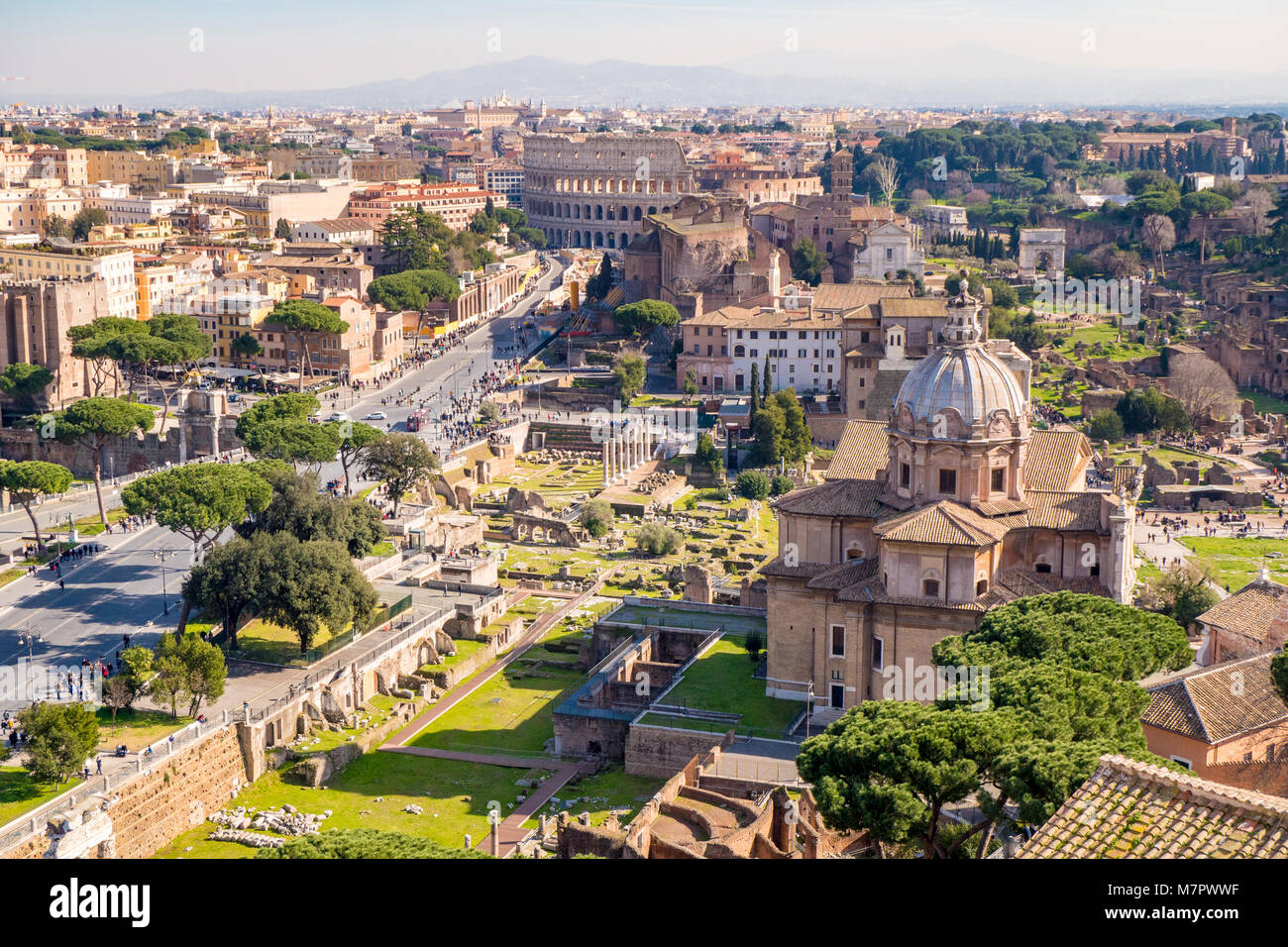 Rome from above aerial view of the Roman Forum - Stock Image