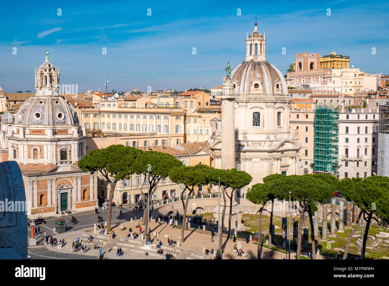 Trajan's Forum and the Trajans Column as seen from above - Stock Image
