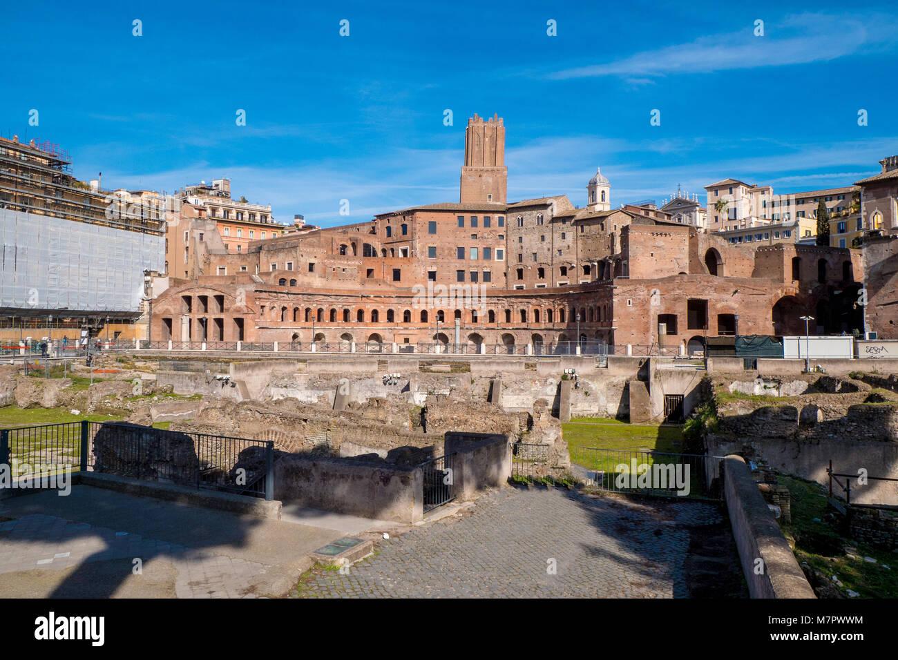 Trajan Market (Mercati di Traiano) near the Roman Forum and Trajan's Column in Rome, Italy - Stock Image