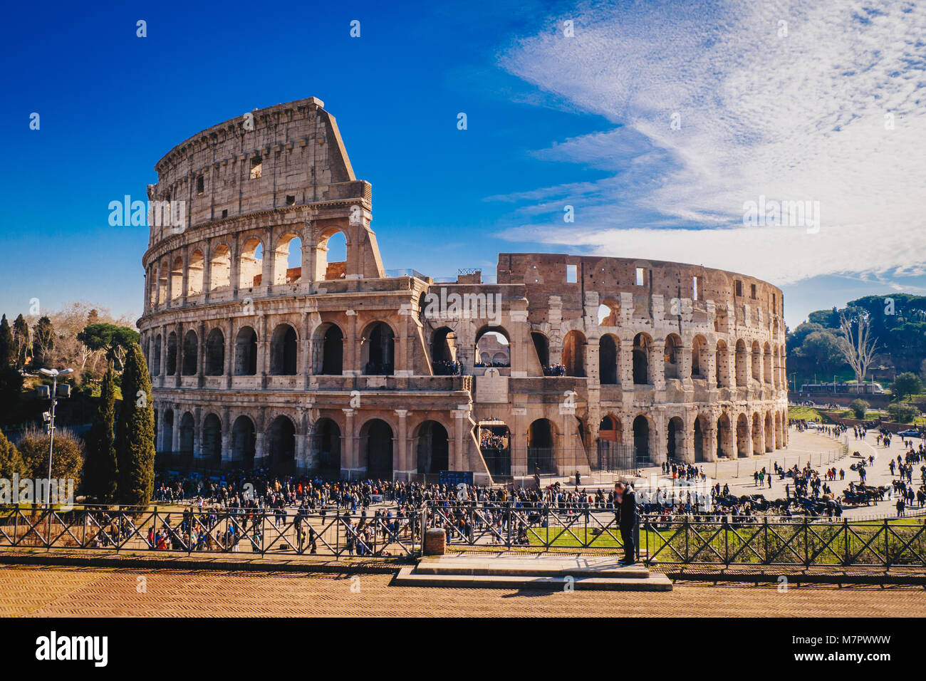 The Roman Colosseum in Rome, Italy HDR image - Stock Image