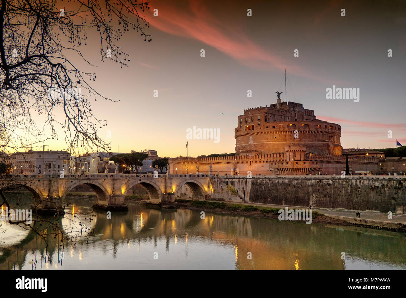 Sunset at Saint Angelo Castle in Rome, Italy - Stock Image