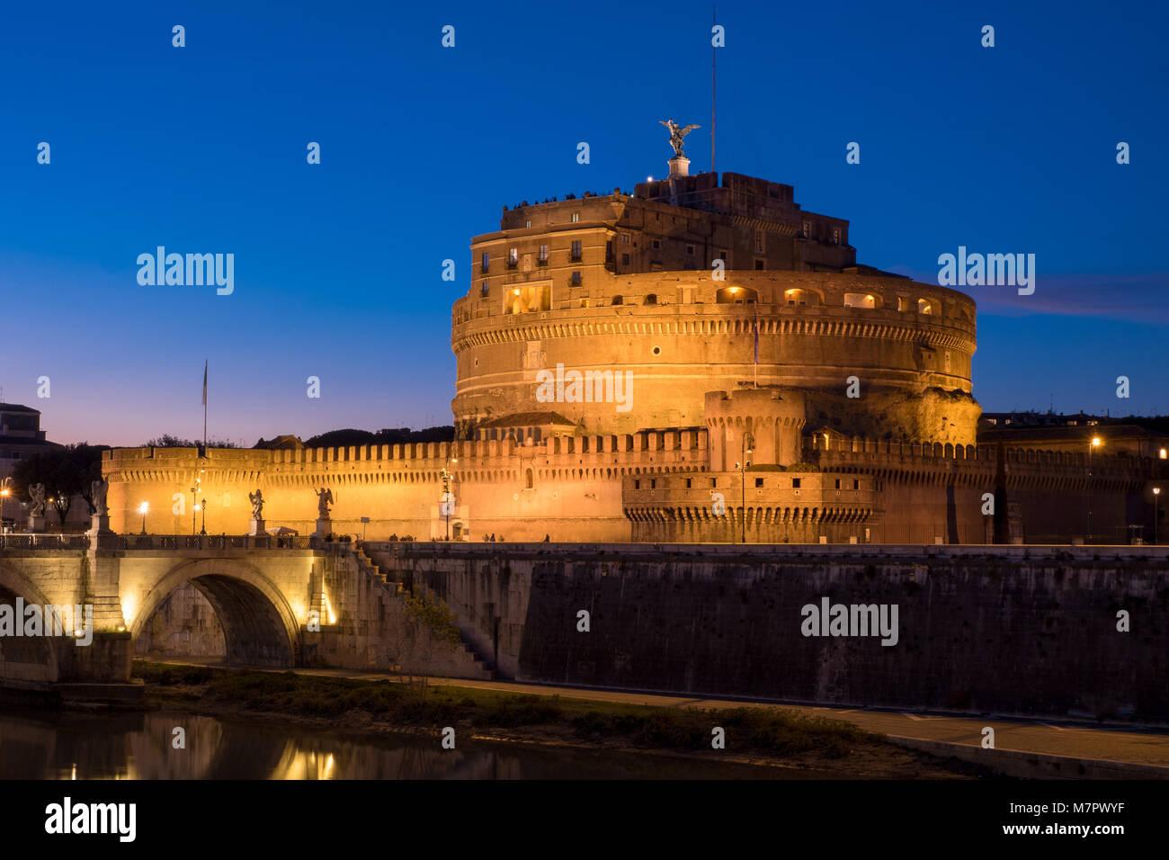Saint Angelo Castle and St. Angelo Bridge in Rome, Italy - Stock Image