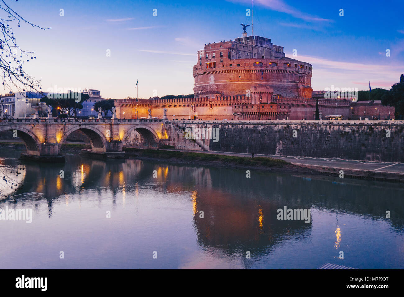 Night view of Sant' Angelo Castle and Sant' Angelo Bridge in Rome, Italy - Stock Image
