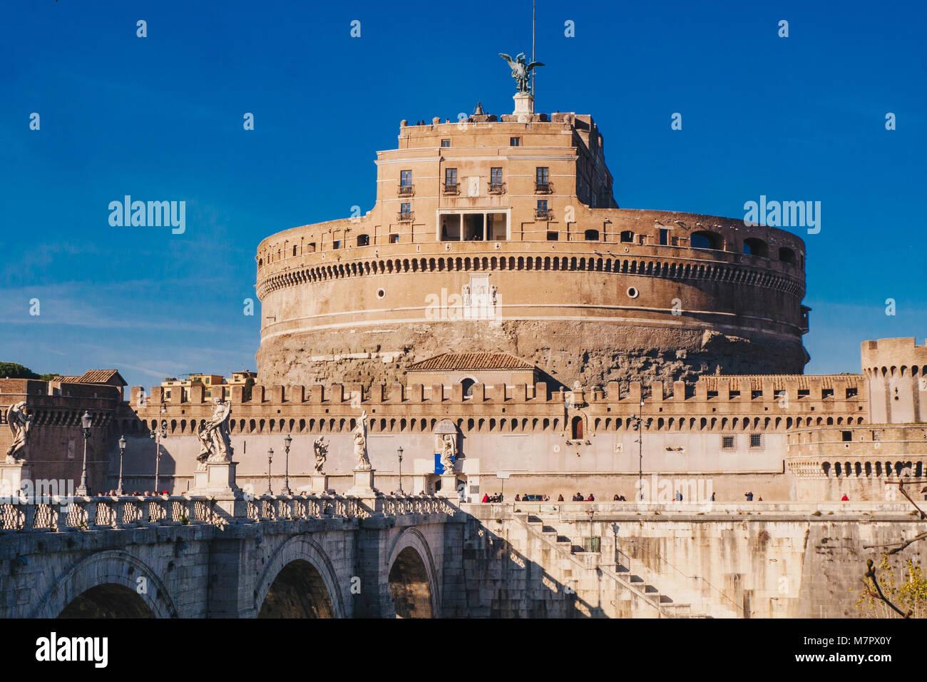 Saint Angelo Castle and Saint Angelo Bridge over Tiber River in Rome, Italy - Stock Image