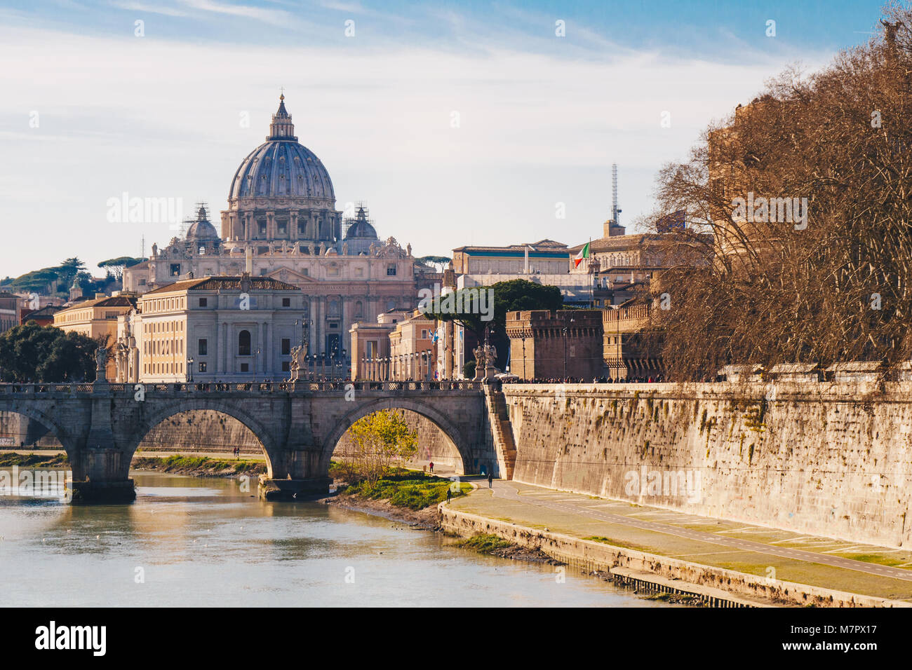View of the Basilica St Peter in Rome, Italy - Stock Image