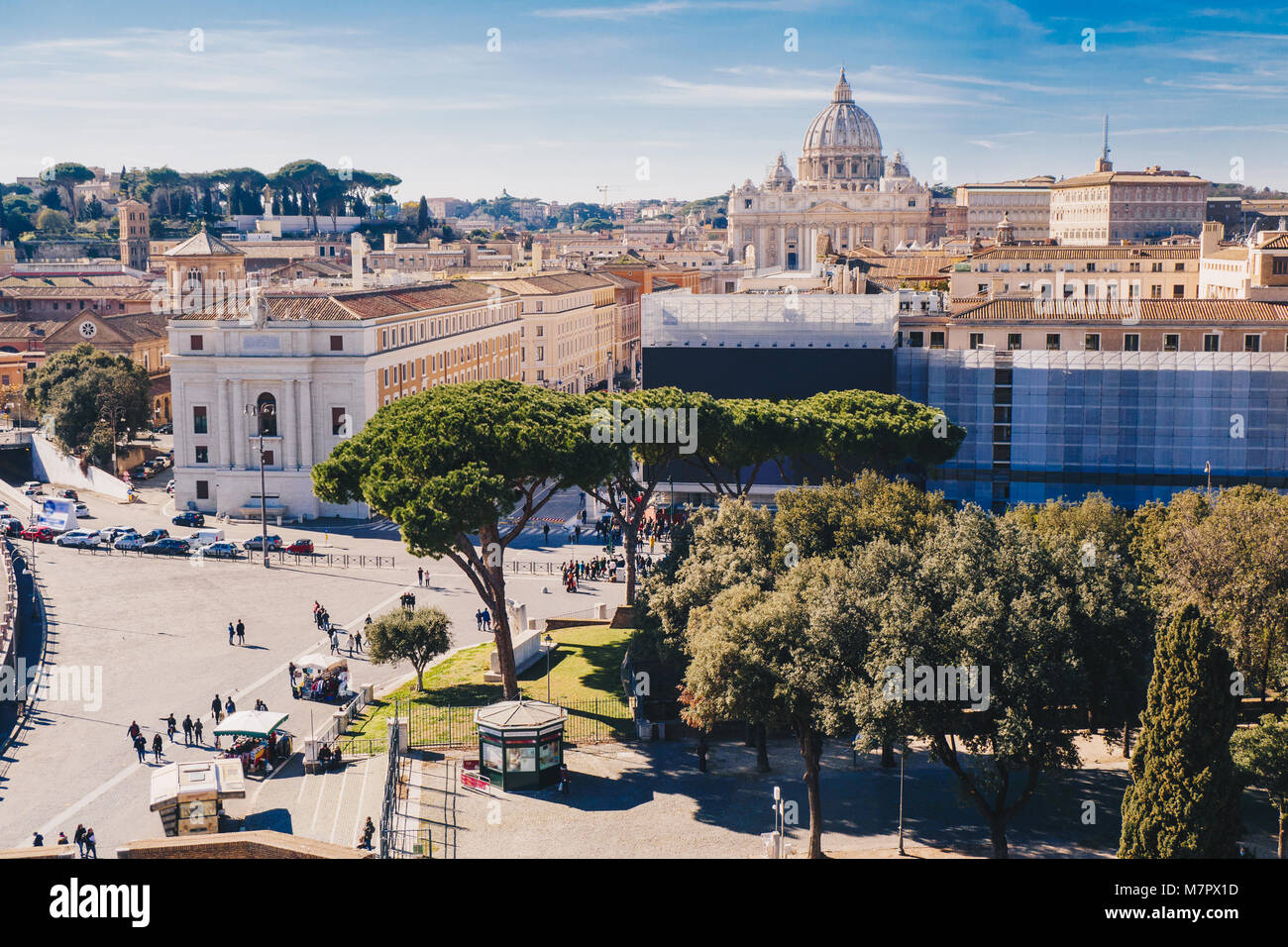 Rome city skyline with St. Peter's Basilica in the Vatican visible - Stock Image