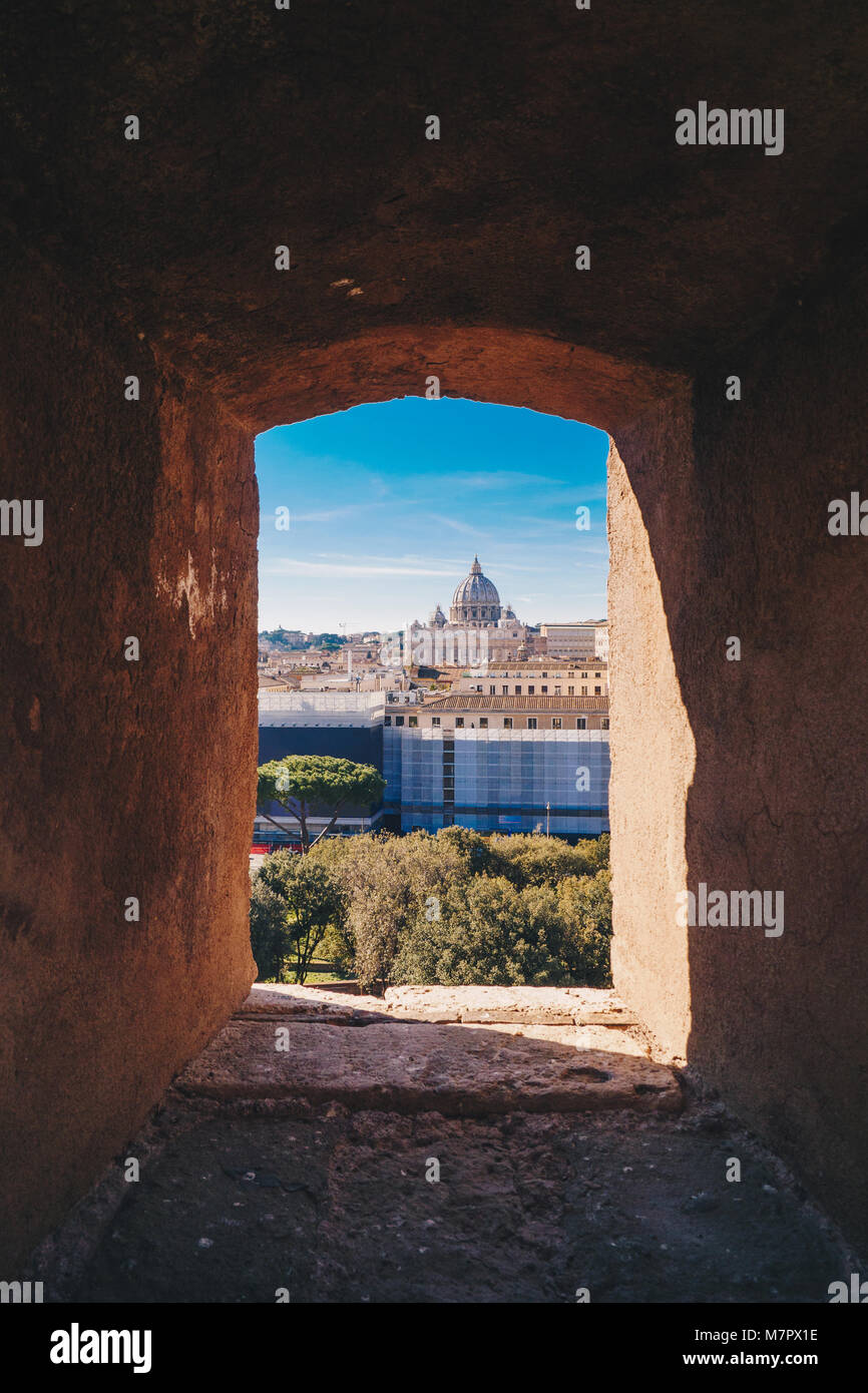 View of Rome from the Castel Sant`Angelo, Italy - Stock Image