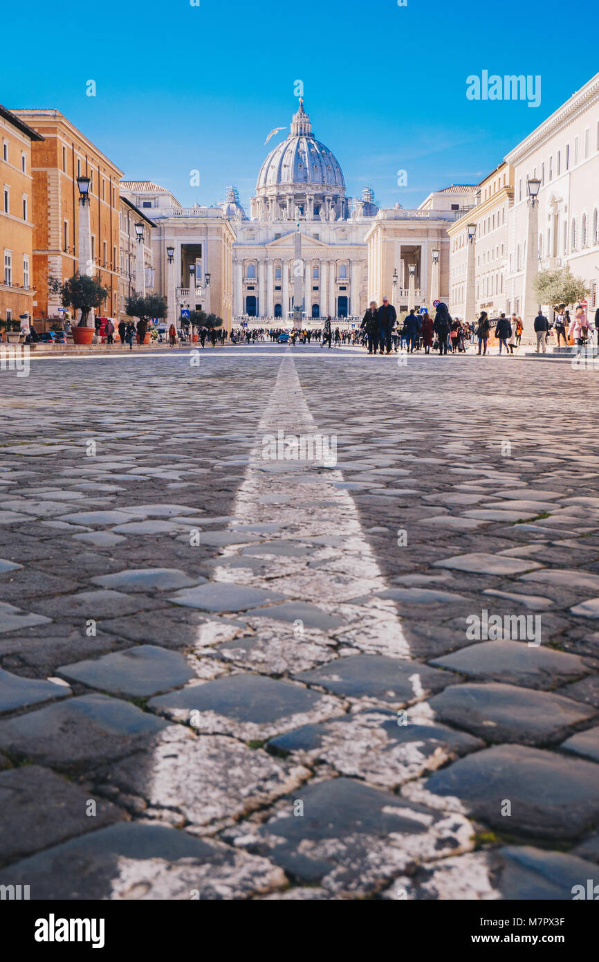 Rome city streets to Vatican City and St. Peters Basilica. Focus on the St. Peters Basilica - Stock Image