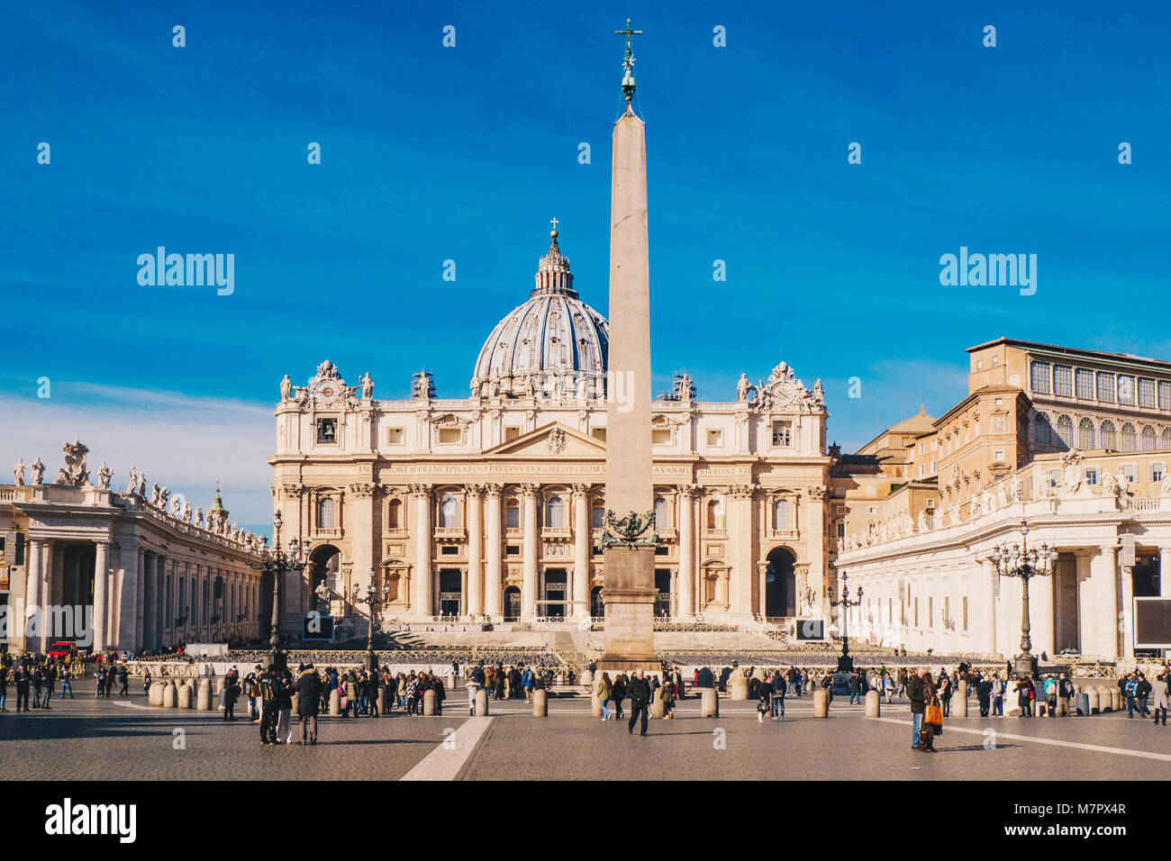 St. Peter's square and Saint Peter's Basilica in the Vatican City in Rome, Italy - Stock Image