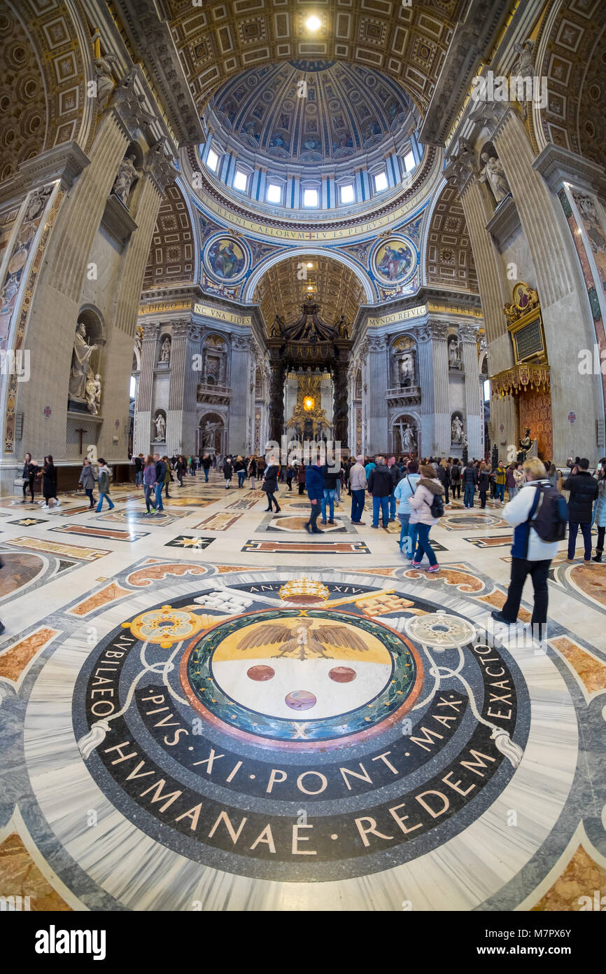 Basilica St. Peter's interior in Rome, Italy - Stock Image