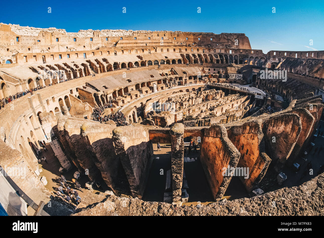 Inside the Roman Colosseum in Rome, Italy - Stock Image