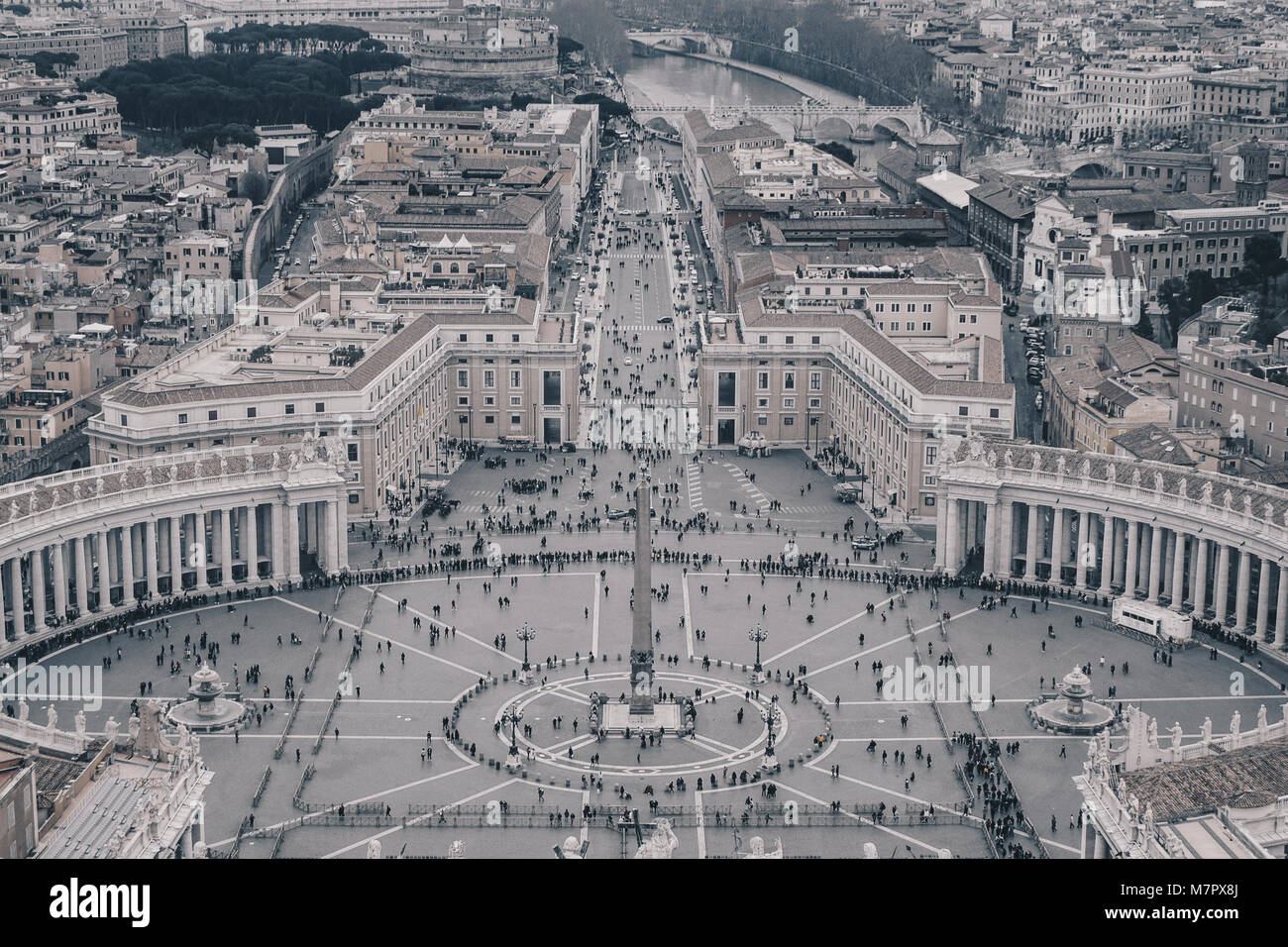Vatican Saint Peter Square as seen from above, black and white version - Stock Image