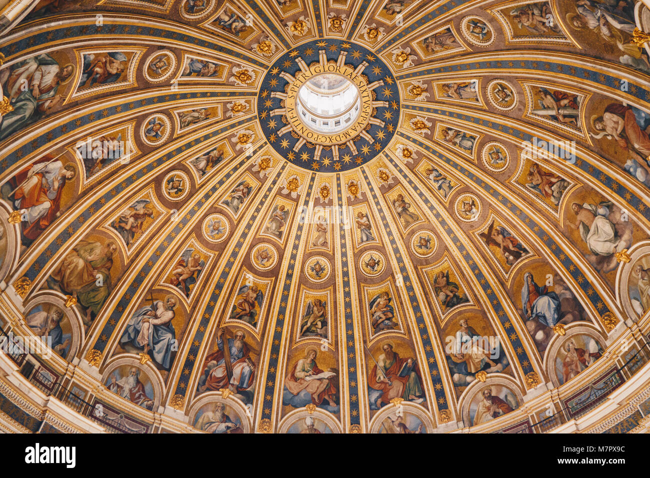 The dome of St. Peter's Basilica Cathedral in Rome, Vatican - Stock Image