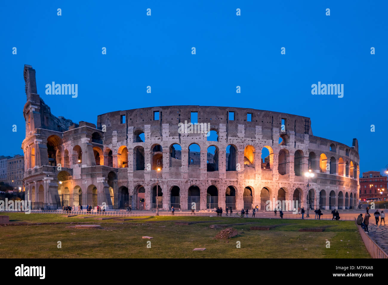 Night at the Colosseum in Rome, Italy - Stock Image
