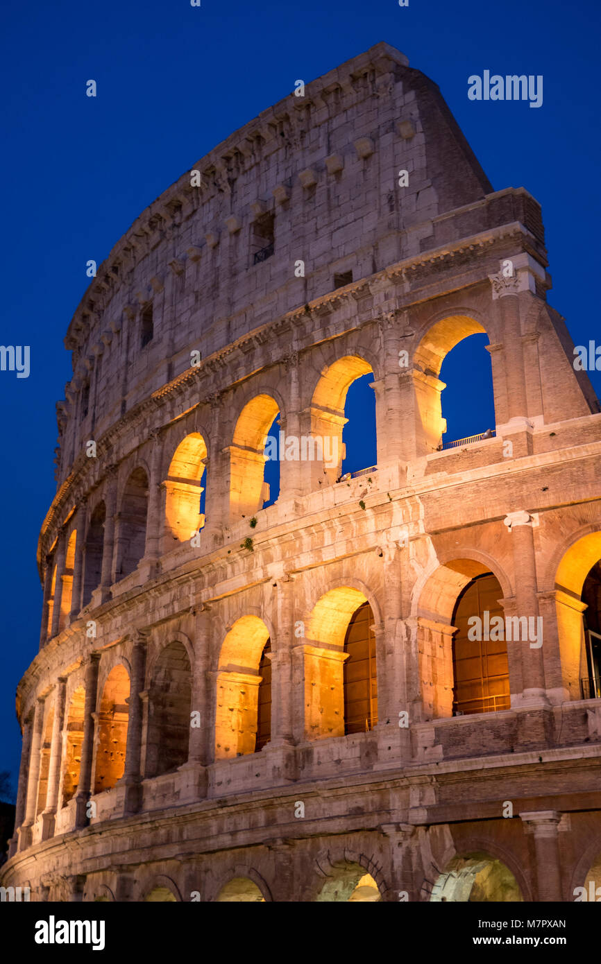 Colosseum by Night in Rome, Italy - Stock Image