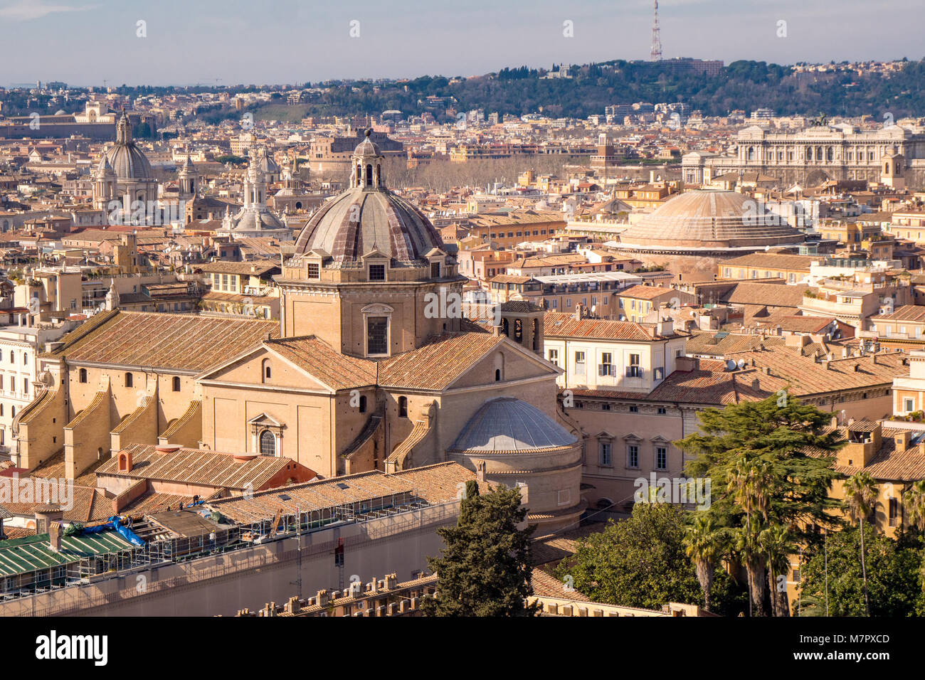 Rome skyline with the Pantheon visible - Stock Image