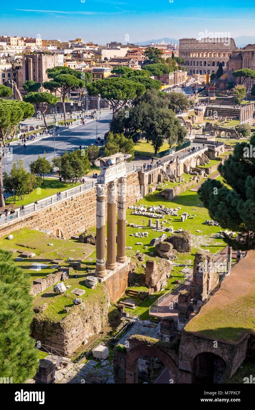 Rome from above. Aerial view of Rome Roman Forum and Colosseum - Stock Image