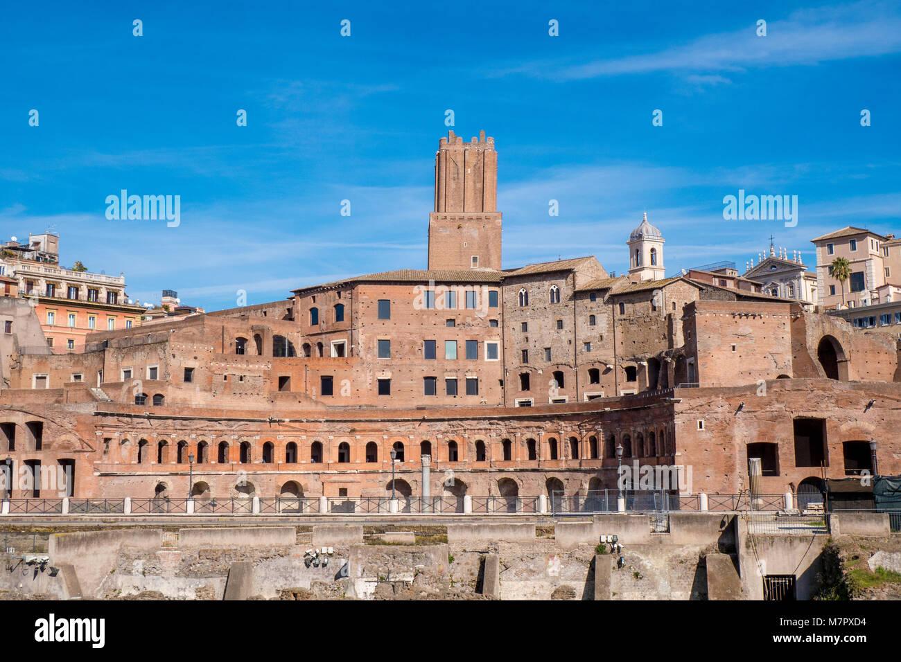 Trajan's Market landmark of Rome, Italy - Stock Image