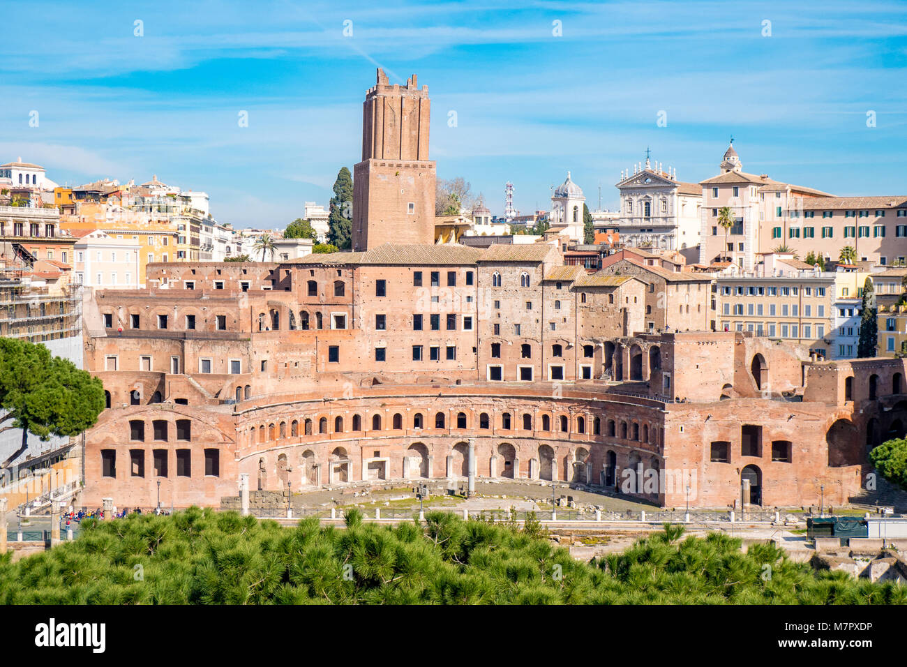 Aerial view of Trajan's Market in Rome, Italy - Stock Image