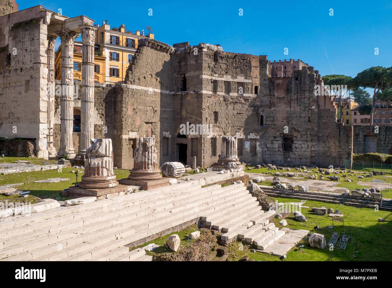 The Augustus Forum (Foro di Augusto) near the Roman Forum in Rome, Italy - Stock Image