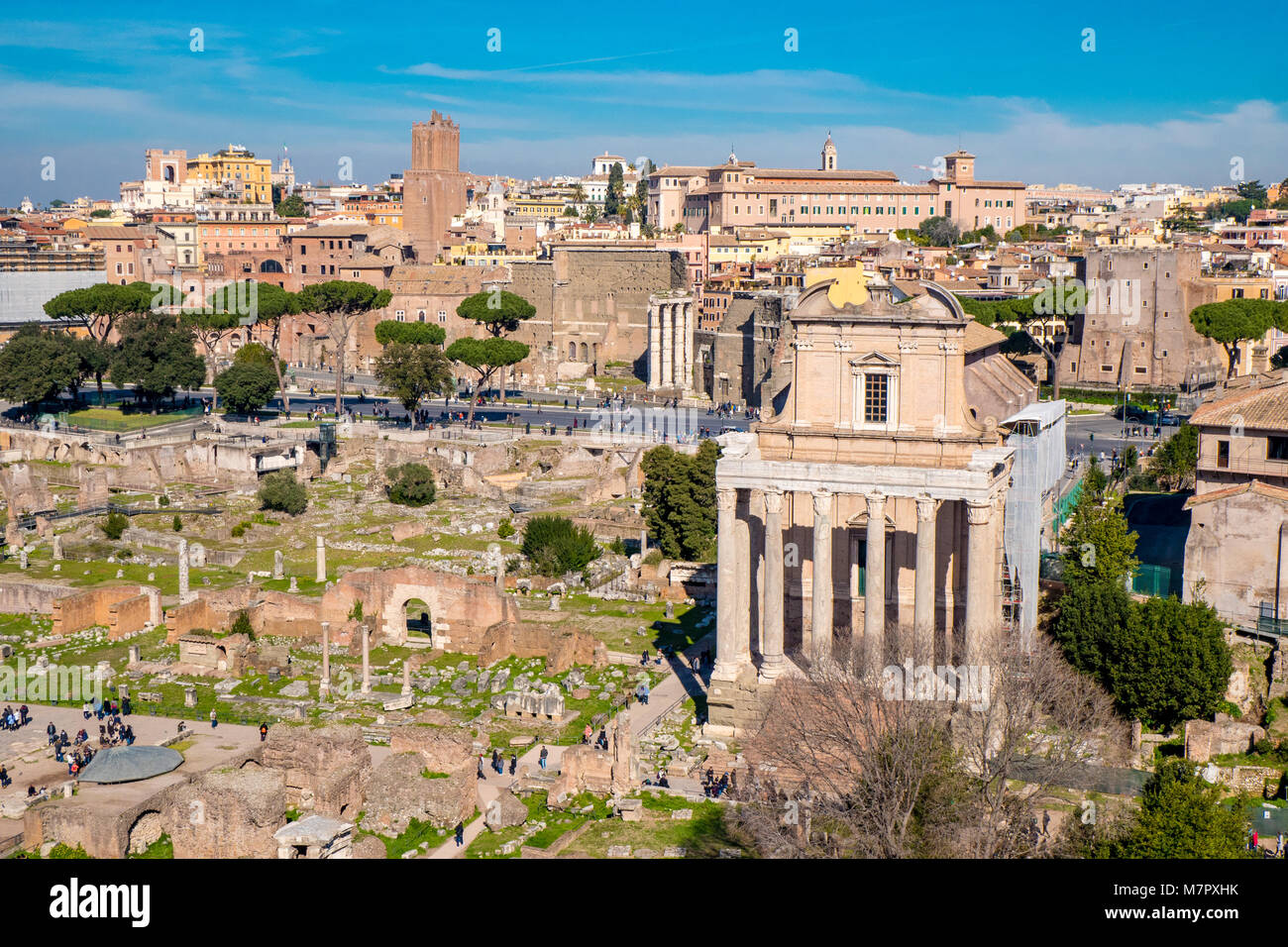 The ancient ruins of the Roman Forum in Rome, Italy - Stock Image