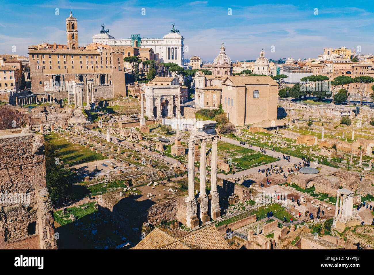 Panorama of the Roman Forum (Foro Romano) and Roman ruins as seen from the Palatine Hill, Roma, Italy - Stock Image