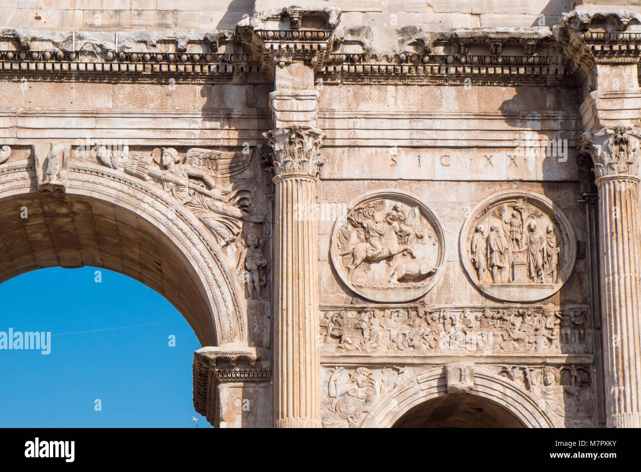 Detail of the Arch of Constantine near the Roman Colosseum, landmark and symbol of Rome, Italy - Stock Image