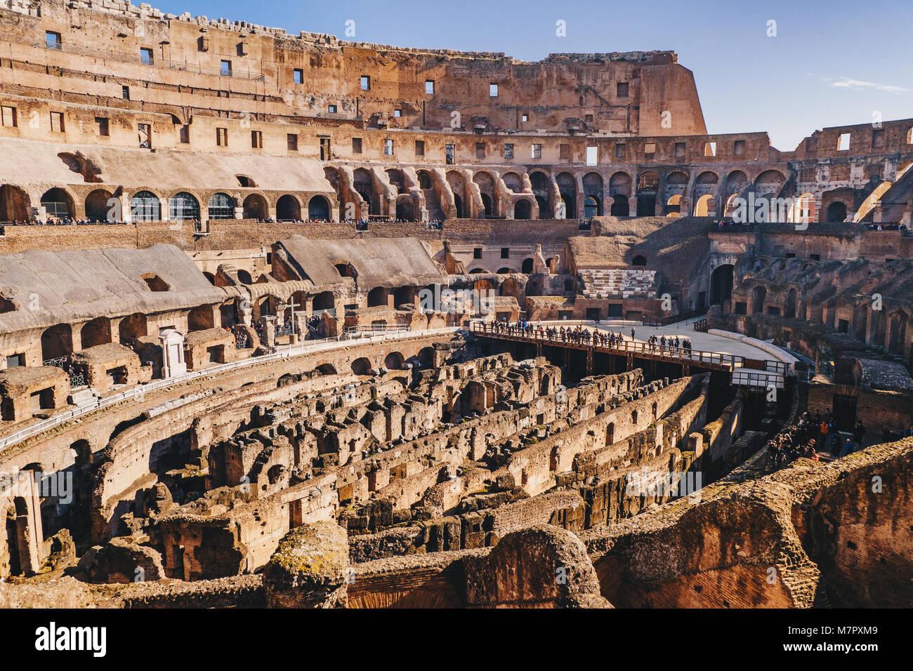 Colosseum interior, Rome, Italy - Stock Image