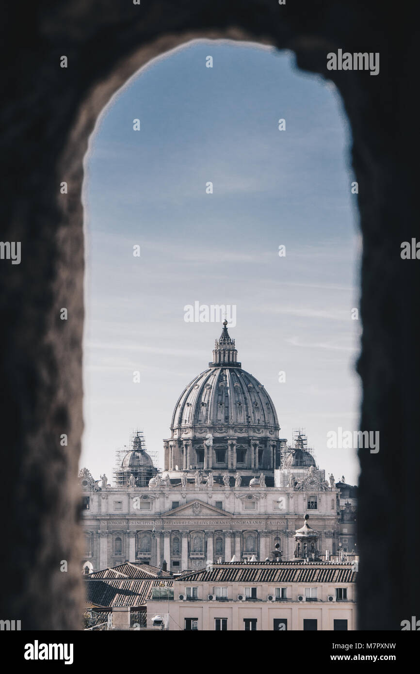 View of Vatican City and St. Peter's Basilica from the Castel Sant`Angelo, Italy - Stock Image