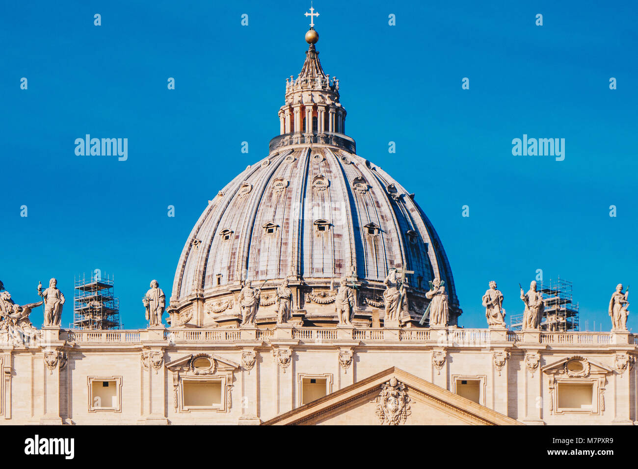 The dome of St. Peter's Basilica in the Vatican City in Rome, Italy - Stock Image