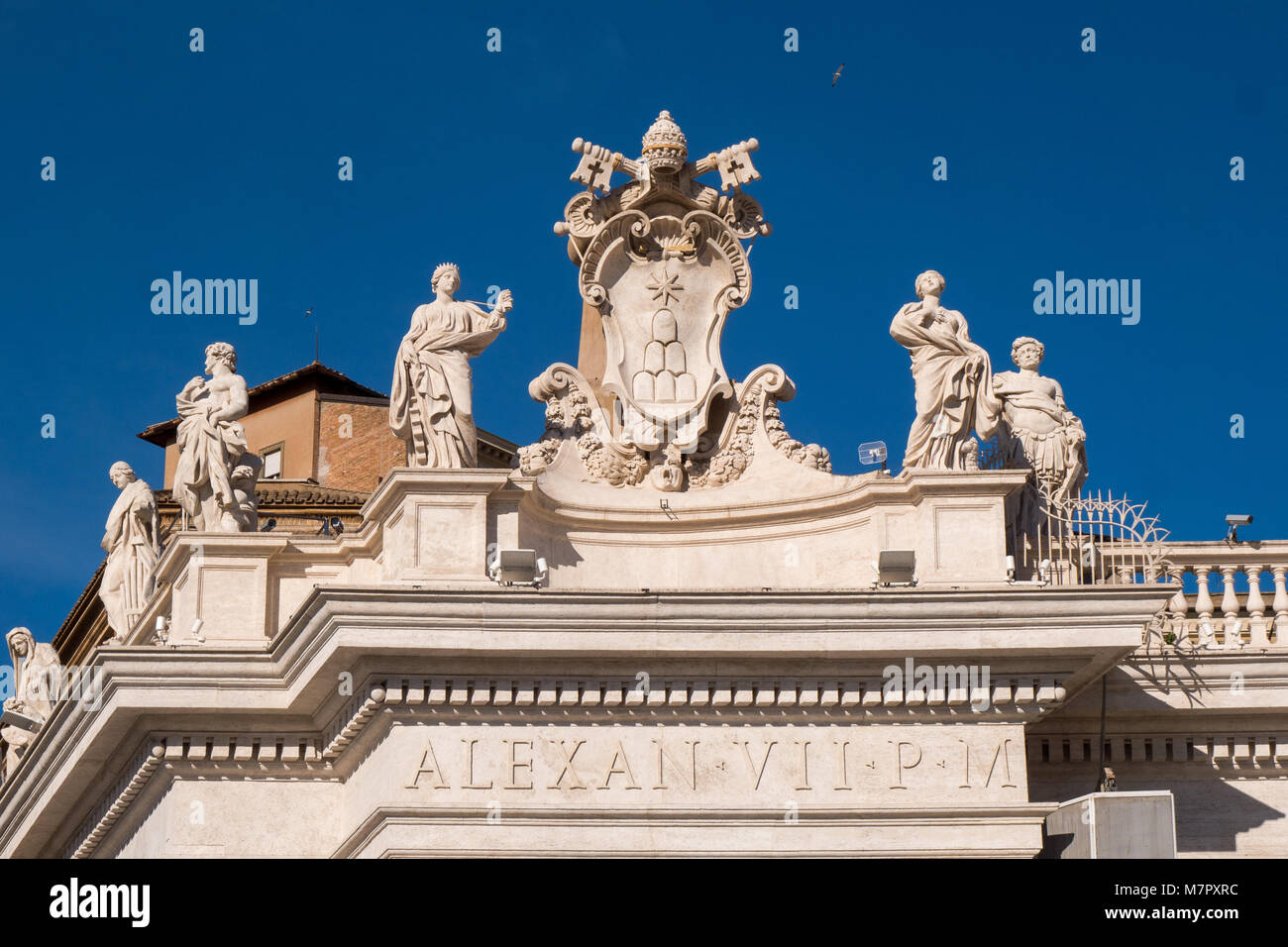 Statues surrounding Sant Peter's Square in Vatican City Rome Italy - Stock Image