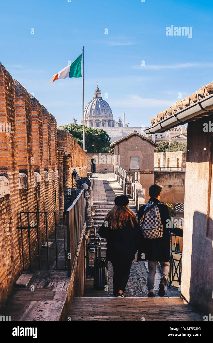 Tourists in Rome visiting the Saint Angelo Castle in Rome, Italy - Stock Image