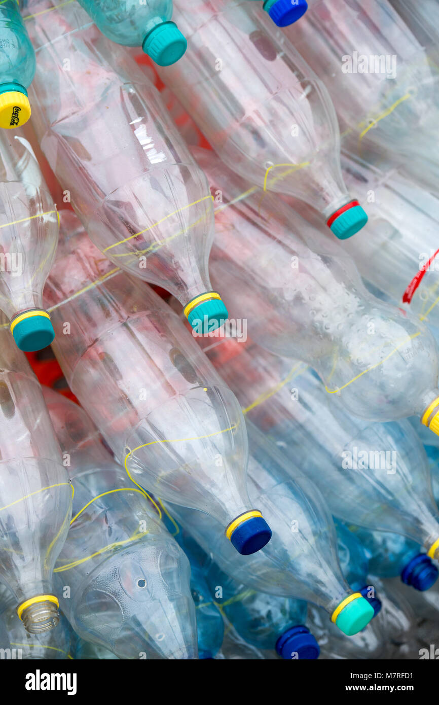 A pile of empty plastic bottles - Stock Image