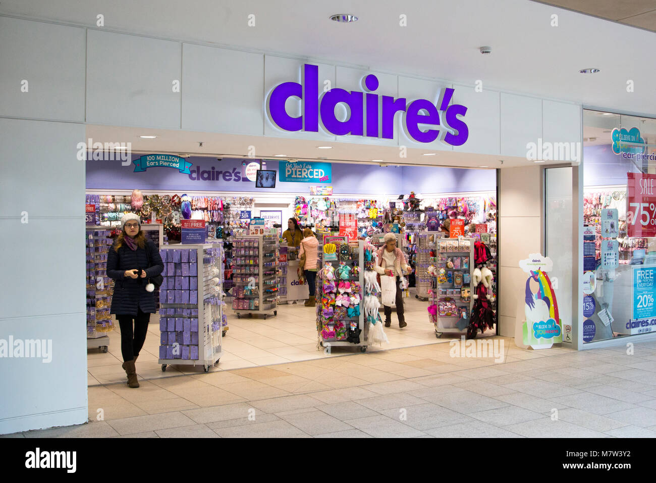 Leeds, UK - 13 March 2018.  Claire's Accessories store in the Trinity Shopping in Leeds was open for businiess as Stock Photo