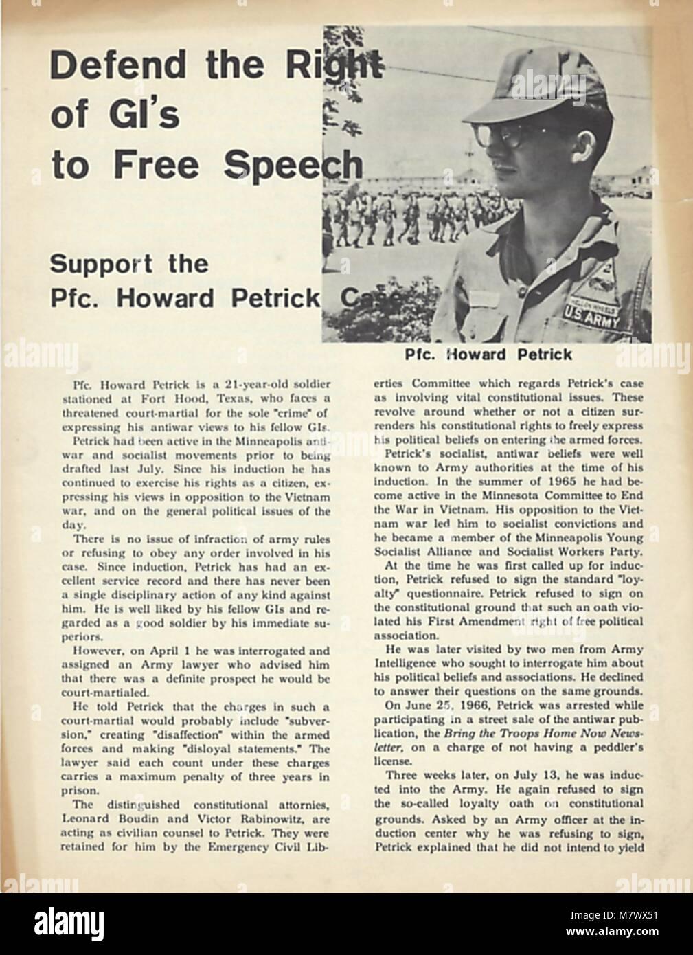 Vietnam war era leaflet, 1970. () - Stock Image