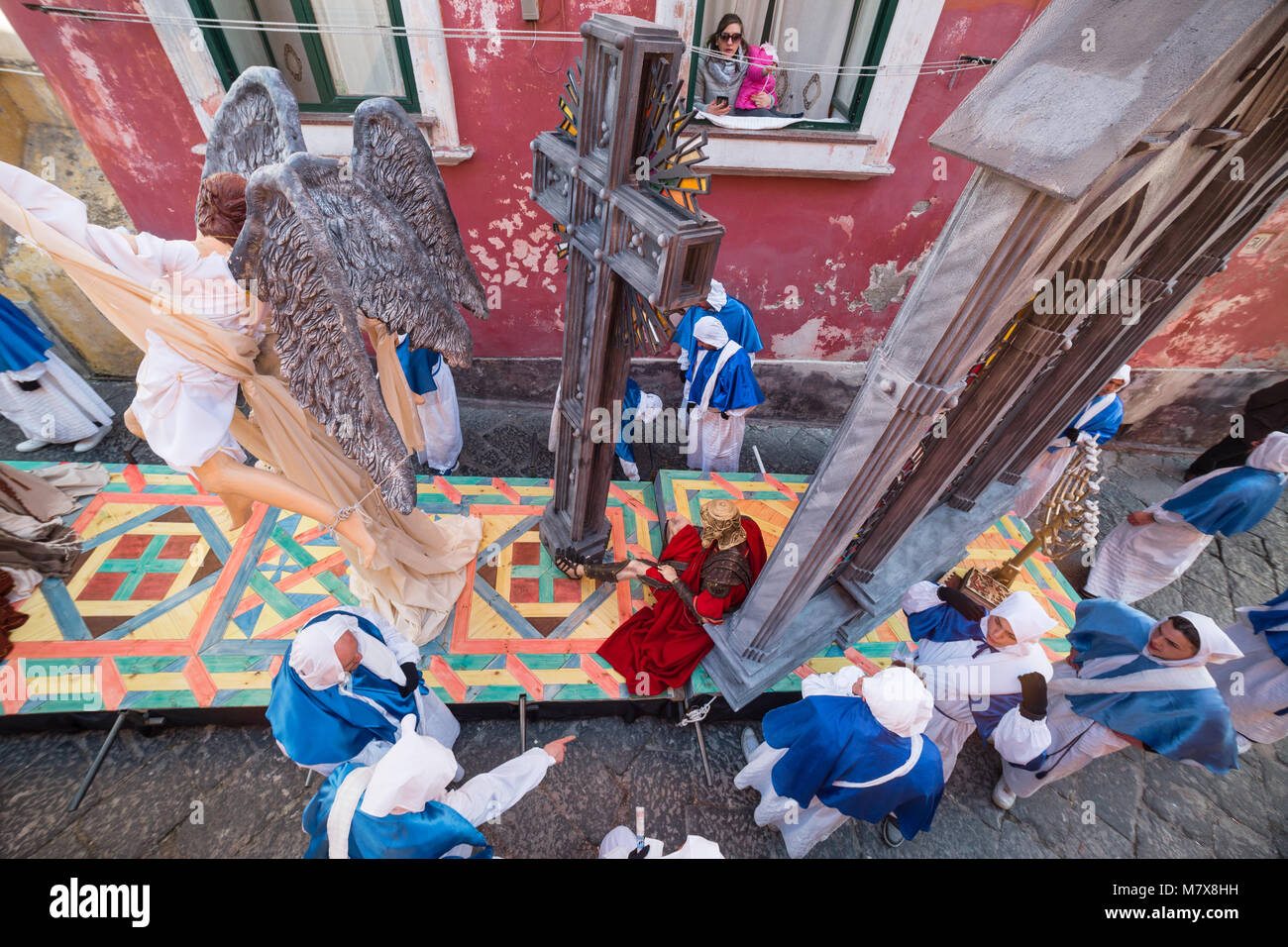 PROCIDA, ITALY - MARCH 25, 2016 - Procida's Good Friday procession is the most famous Easter's celebration - Stock Image