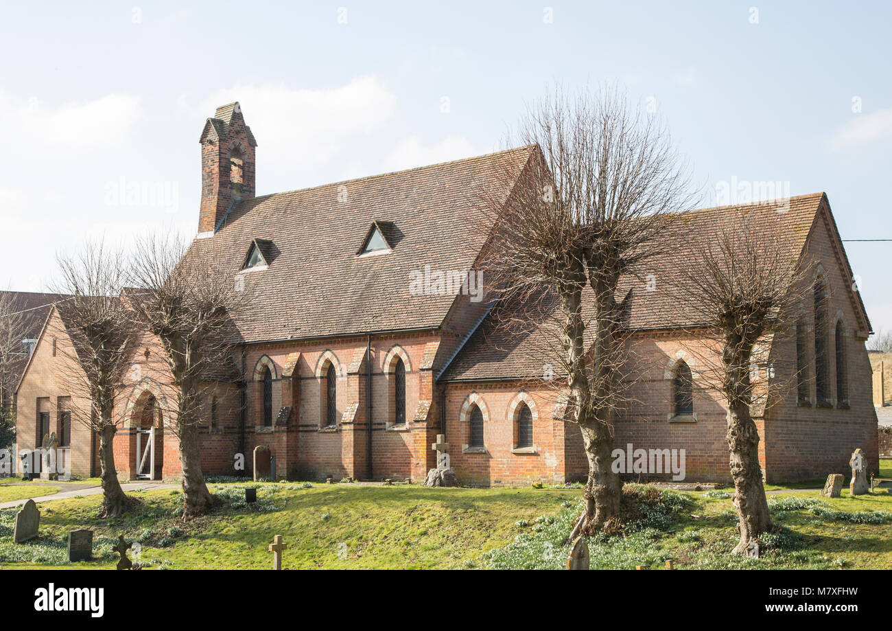 Village parish church of Saint Barnabus Easterton, Wiltshire, England, UK built 1875 - Stock Image