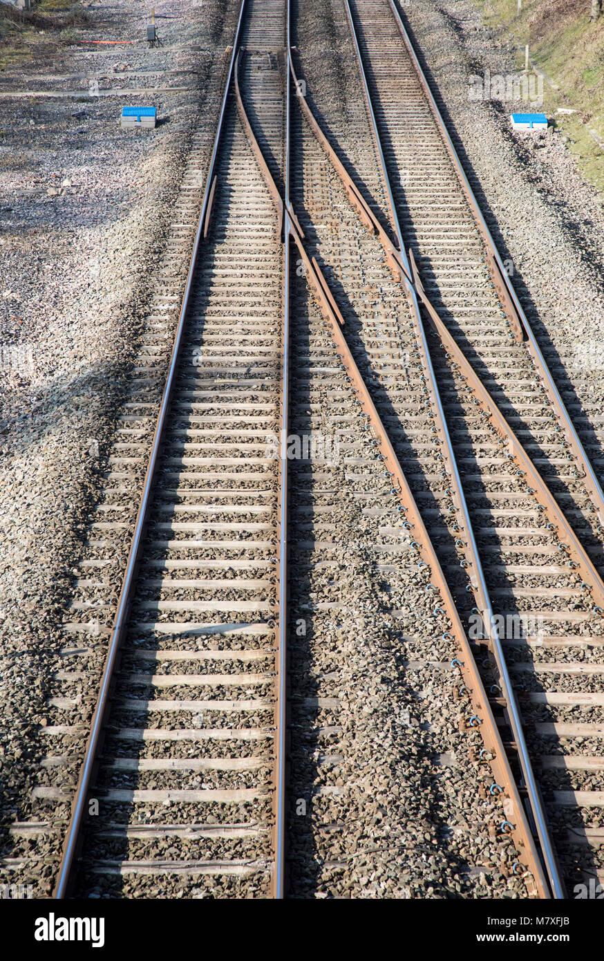 Merging tracks on rail line at Woodborough, Wiltshire, England, UK - Stock Image