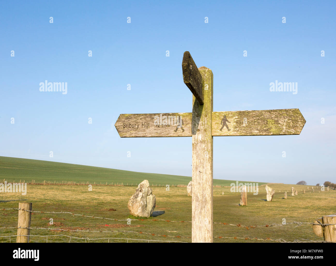 Wooden footpath signpost at the Avenue, Avebury World Heritage site, Wiltshire, England, UK - Stock Image