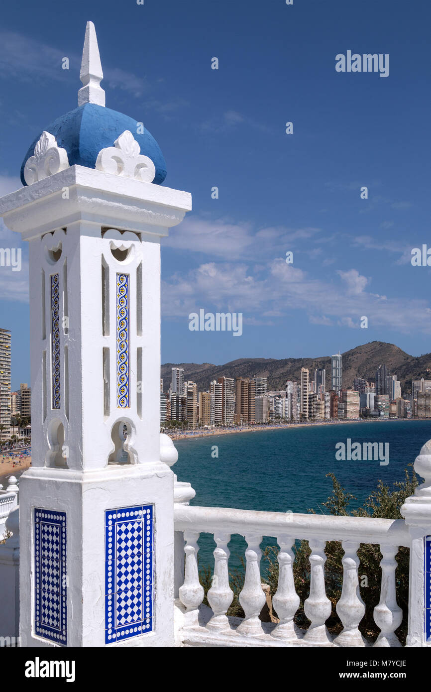Benidorm - Spain.  A city in the province of Alicante on the Costa Blanca in eastern Spain, on the Mediterranean - Stock Image