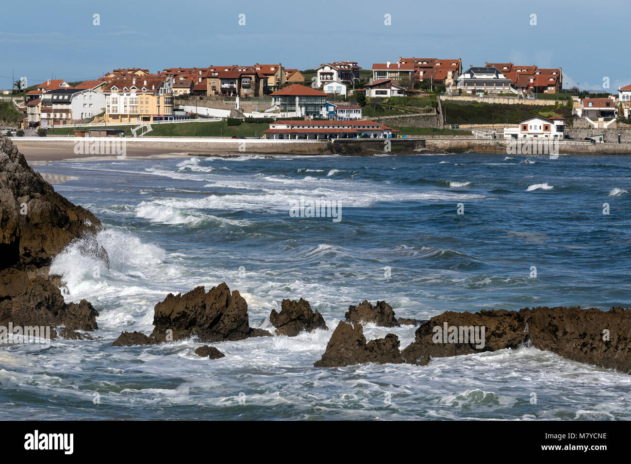 Comillas on the northern coast of Spain. - Stock Image