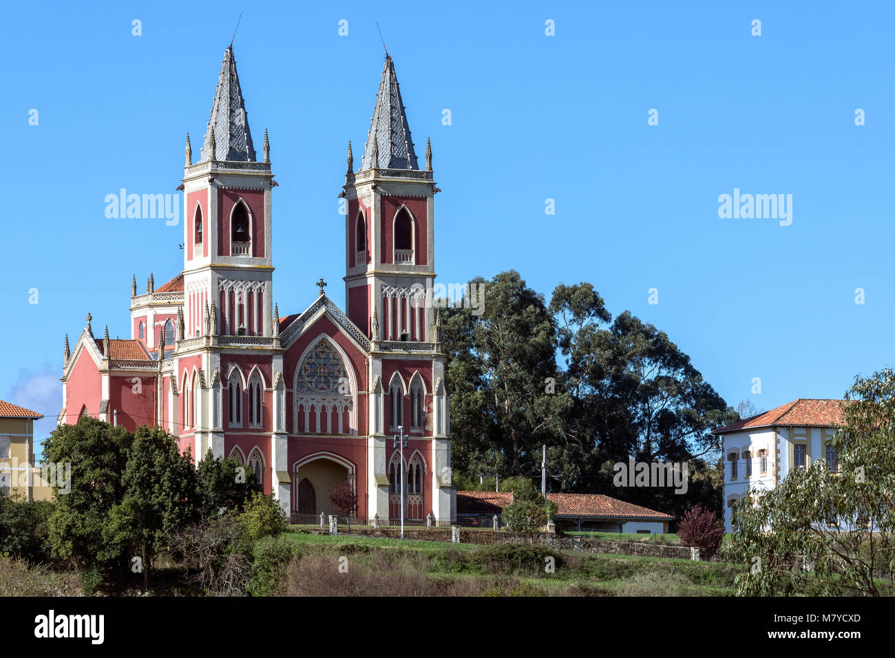 Church in the small town of Corbreces in the Cantabria region of northern Spain. - Stock Image